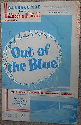 Babbacombe Theatre Programme- Out Of The Blue - Roy Hudd - 1962 Season