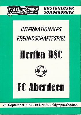 Hertha BSC v Aberdeen Friendly 25 Sep 1973
