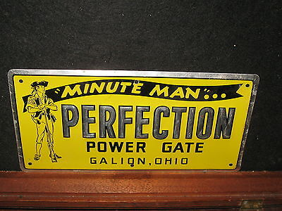 Vintage Old Minute Man Pefection Power Gate Tin Sign Galion OH Advertising