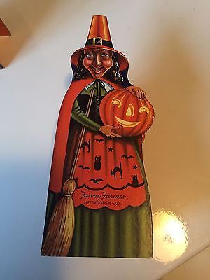 Vtg Antique Fanny Farmer Halloween Witch Jol Cardboard Candy Container 1950 #2