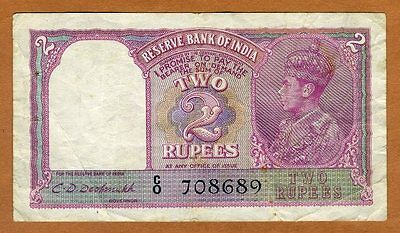 India, 2 Rupees, ND (1937), P-17 (17b), KGVI, WWII, VF   W/H