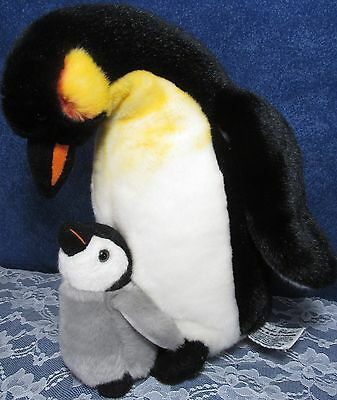 """Yomiko Mommy & Baby Penguin 12"""" Plush Russ Berrie Attached Excellent Condition"""