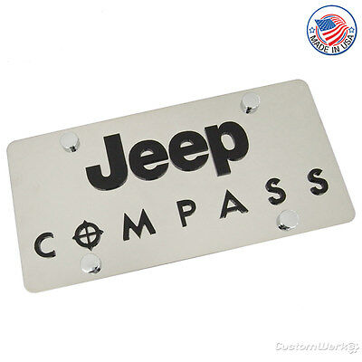 Jeep Laser-Cut Logo & Compass Name On Polished License Plate