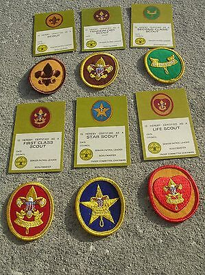 Vintage 1970'S Boy Scout RANK PATCHES & blank cards