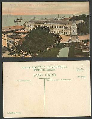 Penang Old Postcard Government Offices & Clock Tower, Steam Ships Boats Steamers