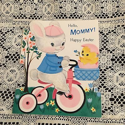 Vintage Greeting Card Easter Bunny Rabbit On Bike Chick Norcross