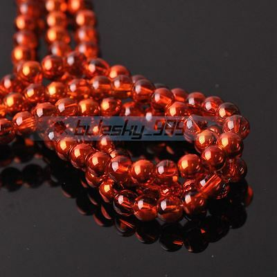 New 100pcs 6mm Round Crystal Glass Loose Spacer Beads Jewelry Findings Orange