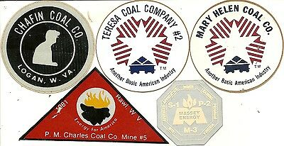 """Lot Of 5 Coal Mining Company - Hard Hat- Coal Mining Stickers-Decal """"old"""""""