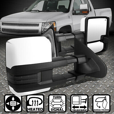Power+Heat+Smoked Led Chrome Towing Side View Mirror For 14-17 Silverado/sierra