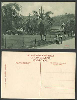 Ceylon Old Postcard Kandy, Rickshaw Native Coolie Palm Trees Temple of Tooth 116