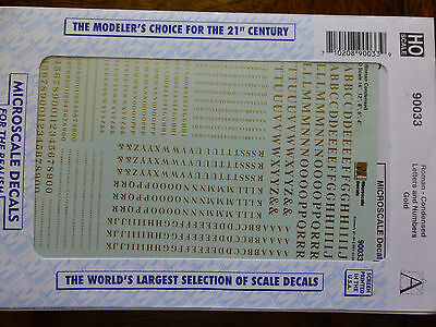 Microscale Decal #90033  Roman - Condensed Letters and Numbers - Gold