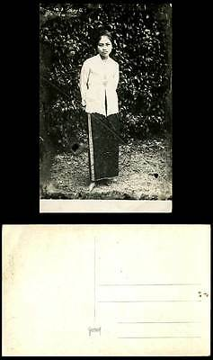 Singapore Old Real Photograph Postcard A Malay Girl, Native Lady, Barefoot Woman