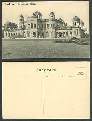 India Old Postcard Lucknow The Canning College School Arched Bridge Garden Tower