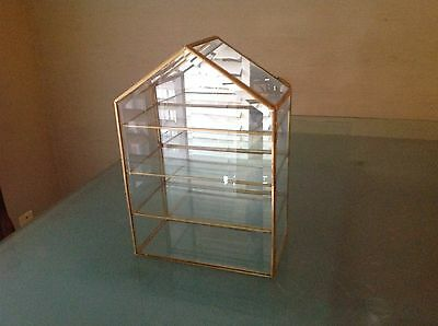 Small Glass And Brass Mirrored Curio Display Case 4 Shelves