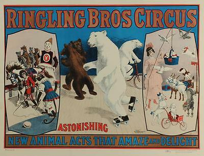 Vintage 1966 Ringling Brothers Circus Skating Bears Monkeys Dogs Lithograph