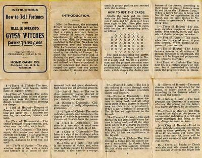 Vtg Halloween Folder/Instructions How To Tell Fortunes w/Gypsy Witches Cards