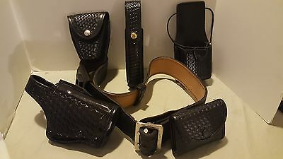 "Galls 44"" Police Duty Basket weave Belt, Holster and Accessories"