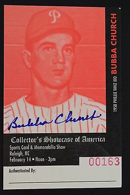 Bubba Church (d.2001) Phillies Reds Autographed Signed Collectors Card 16L