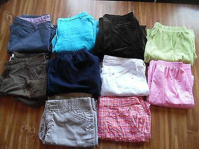 Lot 12 women's size 12 dress pants casual shorts capris cropped brown blue khaki