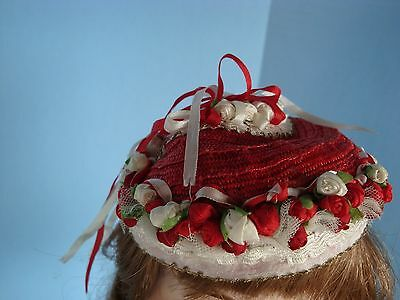 Antique Vintage Red Doll hat for German French dolls Others