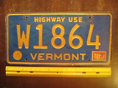 License Plate, Vermont, 1984, Blue, Recessed, Highway Use, W 1864