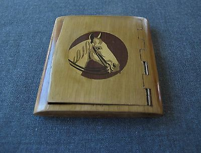 Antique 1930's Horse's Head Handcrafted Inlaid Marquetry Wooden Cards Box