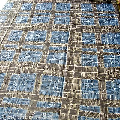 VINTAGE FABRIC QUILT CRAFT SEW DRESS 1950s PAINTERLY CHECK BLUE GREY NOVELTY