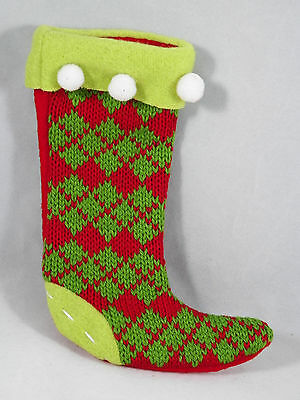 Red Stocking With Green Diamond Pattern Christmas Tree Ornament new holiday