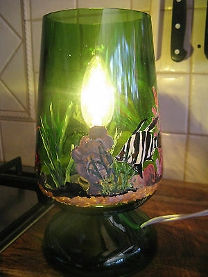 retro kitsch wynvale flagon Co green glass lamp painted fish coral sea shell