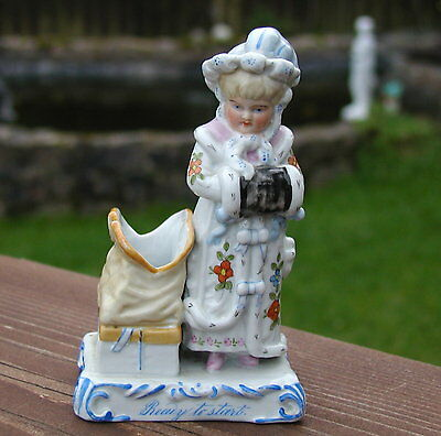 Antique Victorian Porcelain Hand Painted Match Striker Figure Of A Young Girl
