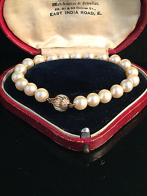 """Fine Saltwater Akoya 7mm Cultured Pearl bracelet on 9ct Gold clasp 7.5"""" / 19cm"""