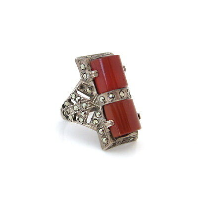 Art Deco Sterling Silver Carnelian Glass Ring • Vintage 1930s Marcasite Jewelry