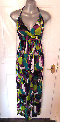 ❤ NEW LOOK Gorgeous Ladies Size 10 Green Purple Mix Stretchy Long Dress
