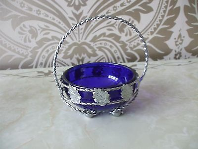 Vintage Retro Queen Anne Style Chrome & Blue Glass Sugar Bowl