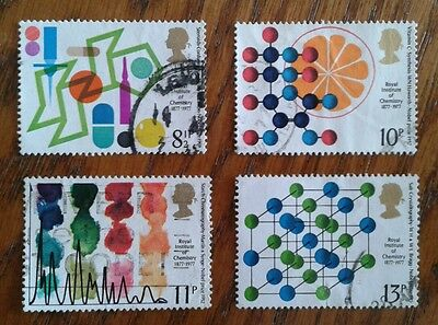 Complete GB used stamp set: 1977 Royal Institute of Chemistry Centenary