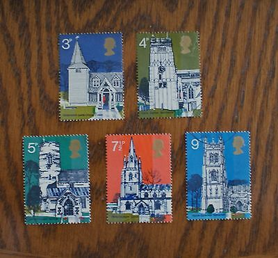 Complete GB used stamp set: 1972 British Architecture: Village Churches