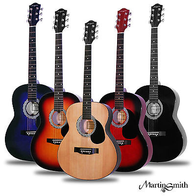 Martin Smith W-100 Acoustic Guitar Package with Strings Plecs Strap - Natural