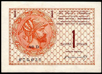 Yugoslavia, One Dinar, 48D 074,031. (1919), Nearly Very Fine.