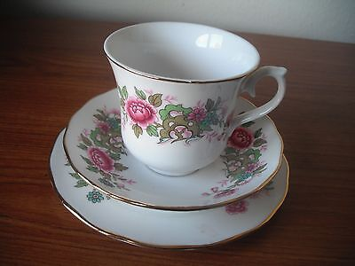 2 Red Flowers & Foliage Queen Anne China Trios