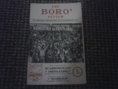Scarborough v Middllesbrough N/R Cup Final Replay Football Programme 25/8/1975.