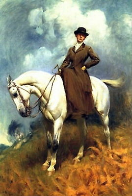 Print Equestrian Sports Arabian Horse c19th Victorian Lady Hat Side Saddle Mount