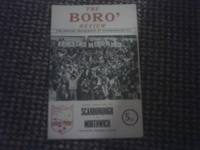Scarborough v Northwich Football Programme 28/2/1976.