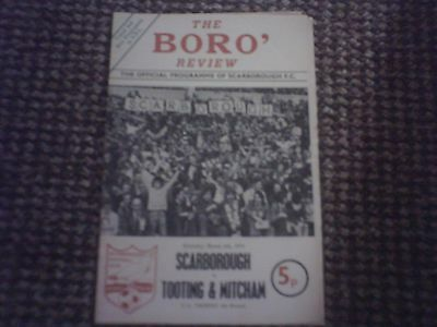 Scarborough v Tooting & Mitchum FA Trophy Football Programme 6/3/1976.