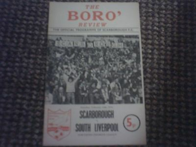 Scarborough v South Liverpool Football Programme 14/2/1976.