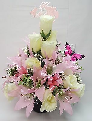 Artificial Flowers Mothers Day Memorial Grave Pot Arrangement Pink And White