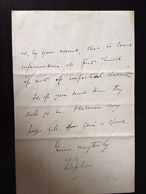 Leslie Stephen - Author And Mountaineer  - Hand Written & Signed Letter