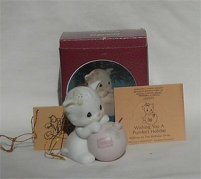 1990 Precious Moments Kitten Ornament Wishing You a Purr-fect Holiday