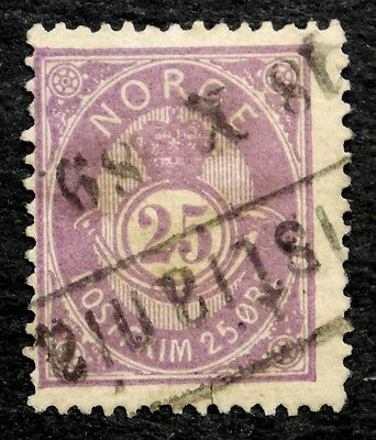 Norway: 1884 Classic Era Stamp Scott #45 Used Sound Cv $30.00