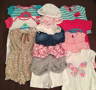 Bundle Baby Girls' 3-6 Months Summer Clothing - Rompers, Shorts, Tops, Hats