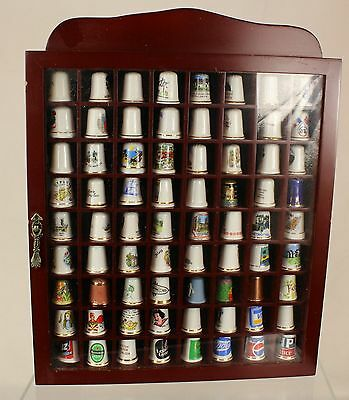 Collection of 72 Thimbles with Display Case ##WBR23JMH